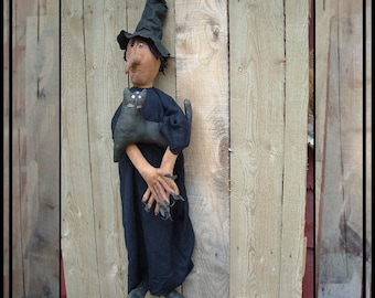 SALE mailed paper pattern tall primitive witch doll with cat hafair ofg faap haguild 211