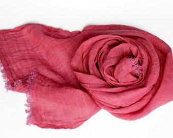 Crimson Red Linen Scarf. 100% natural linen scarf. Organic flax scarf. Cerise pink linen scarf. Birthday Gift for her, summer scarf