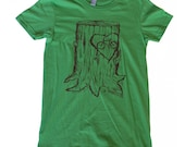 Faux Bois Bicycle Mens T Shirt - Grass Green Cotton American Apparel and Hand Carved Design