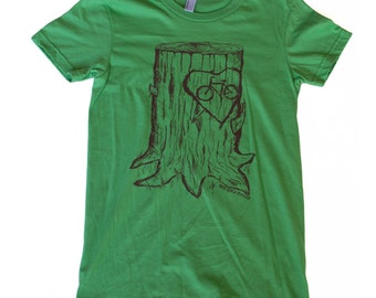 Faux Bois Bicycle Mens T Shirt - Grass Green Cotton and Hand Carved Design