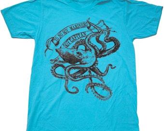 La Bamba Octopus- Mens T Shirt, Unisex Tee, Cotton Tee, Handmade graphic tee, Bicycle shirt, Bike Tee, sizes xs-xxl
