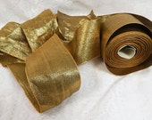 Vintage roll of Wide  2 and 3/4 inch Gold Ribbon