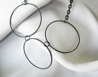 Linked Circle Necklace Black Rings and Chain Metal Lightweight Handmade Large Rings