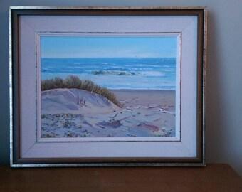 Original Oil Painting Framed.  Beach Scene.  Beautiful and Serene.