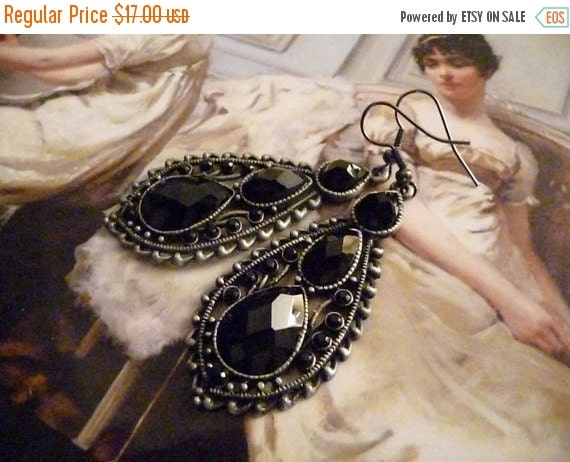 LABOR DAY Antique Black Teardrop Metal Pendant With Black Teardrop Faceted Beads - The Luciana earrings