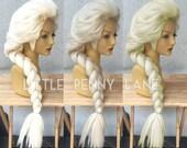 Elsa Frozen Adult Costume Wig Lace Front Movie Style Version