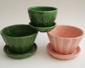 3 Vintage Small SHAWNEE Pottery Planters with Drip Trays, 2 green, 1 pink
