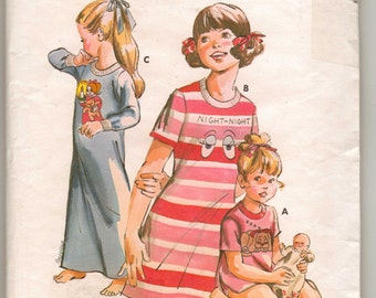 Kwik Sew 627 Sewing Pattern Child Nightgown Nightshirt Stretch Fabric Only Sizes 4-6-8