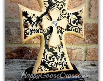 Cross - Wood Cross - MINI-Standing - Antiqued Beige and Black, with Black/Beige Damask