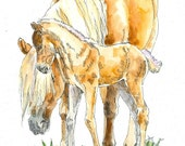 HAFLINGER MARE & Colt Horse Original Watercolor on Ink Print Matted 11x14 Ready to Frame