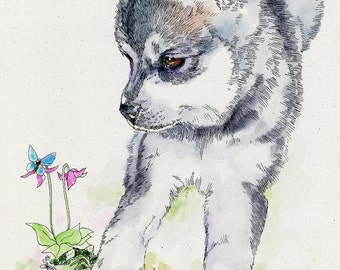 KLEE KAI Original Watercolor on Ink Print Matted 11x14 Ready to Frame