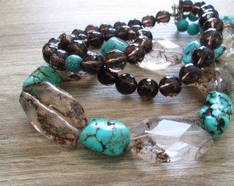 Chunky Turquoise Brown Quartz Double Strand  Beaded Necklace , Statement Choker