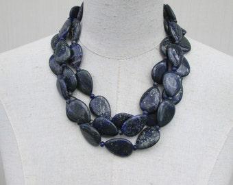 Navy Dark Blue Jasper Chunky Beaded Multi Strand Necklace