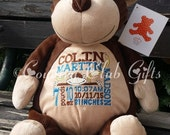 personalized stuffed plush monkey, personalized plush, stuffed animal, monkey, keepsake, baby gift, Embroider Buddies