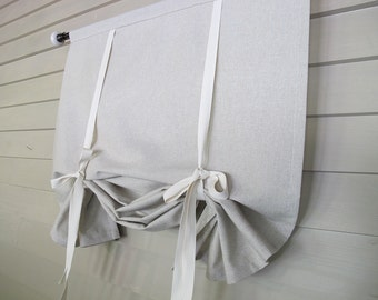 Natural Tan 72 Inch Long Cotton Stage Coach Blind Swedish Roll Up Shade Tie Up Curtain Swag Balloon