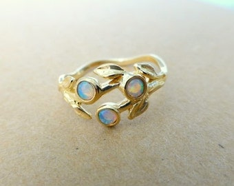 Leaf Opal ring in 14k yellow gold.  Engagement ring with Opals.  Promise ring with Opals.