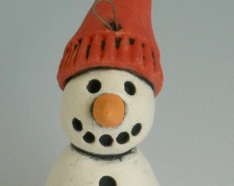 Snowman Ornament, HANDMADE CLAY SNOWMAN, Snowman, Winter decor, Snowman with Red Hat, Red and White, Snow, Winter, Christmas Ornament