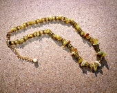Necklace Yellow Opal Gemstones with Topaz Glass Beads 17 Inches