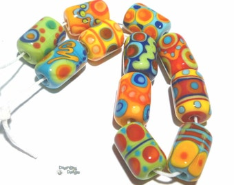 CRAZY DAZE Lampwork Beads Handmade Red Green Blue Yellow Bright Bold Colors - Cylinders - Set of 11