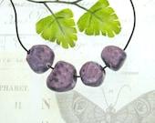 purple beads, handmade beads, artisan beads, organic beads, (4) loose beads, clay beads -   # 106