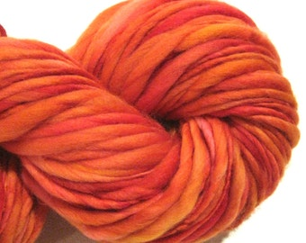 Handspun Yarn Burn Baby Burn 136 yards red yarn orange yarn hand dyed merino wool knitting supplies  waldorf doll hair knitting supplies