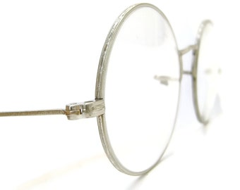 Vintage Antique Round Silver Eyeglasses Glasses Eyeglasses Reading Lens