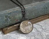 Antique Lace Glass Necklace Padlock Bubble Jewelry