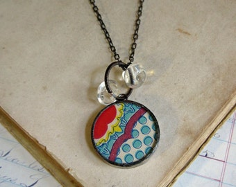 Vintage Paper Long Necklace Stained Glass One of a Kind Jewelry