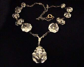Vintage Art Deco Crystal Lavalier Necklace