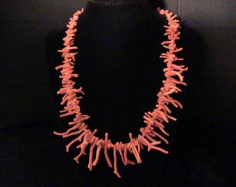 Vintage Salmon Red Coral Branch Graduated Necklace