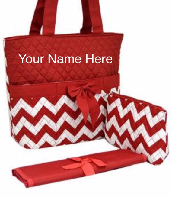 Diaper Bag Quilted Red Chevron Print with Personalized Embroidery