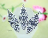 Ornate Almond Shape 32x12mm Antiqued Silver Filled Filigree Floral Art Nouveau Charms - 2