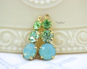 Rhinestone Dangles Round Set Stones 23mm Earring Component Brass Settings  Pacific Green Opal Chrysolite & Peridot - 2
