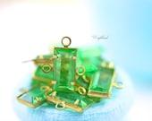 Peridot Green 10x5mm Vintage Baguette Swarovski Stone in 3 Rings Brass Channel - 4 .