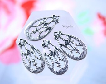 Ornate Earring Dangle Art Deco Antiqued Silver Filled Teardrop Charms - 4
