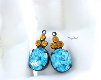 Vintage Glass Oval Stone Swarovski Crystals 1 Ring Black Antique Brass Prong Settings 22x10mm Aqua & Topaz - 2