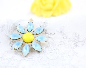Aquamarine Sabrina & Opaque Lemon Yellow Daisy Flower Pendant Earring Dangle Vintage Stones Brass Setting 30mm