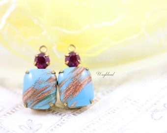 Turquoise & Fuchsia 20x10mm Vintage Glass Octagon Stone and Swarovski Crystal 1 Ring Brass Prong Settings - 2