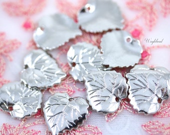 Base Metal Leaf Charms - Silver Tone - 10 .