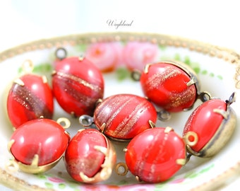 Red 12x10mm Vintage Glass Oval Stones in 1 Ring Closed Back Brass Prong Settings - 4