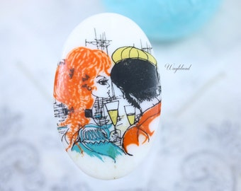 VERY RARE Vintage Oval Glass Cabochons 35x55mm Orange Hair Woman with Artist - 1 .