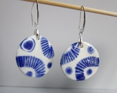 Two sided Blue and white Porcelain earrings on  Silver Earring Hooks - Dutch  Blue - Delft