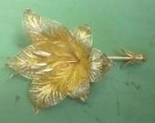 Large Vintage Portugal Sterling Vermeil Flower Pin Brooch