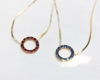Round Crystal Necklace - Purple, Blue, Red