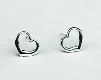 Heart Outline Studs - Silver Plated or Gold Plated