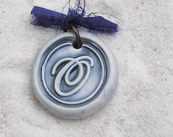 Wax seal monogram polymer clay 'O' pendant