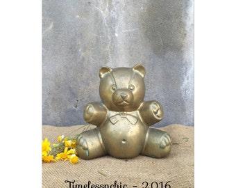 Bear - Brass Bear - Nursery Decor - Baby Shower - Brass Figurine - Teddy Bear - Brass Teddy Bear - Chic