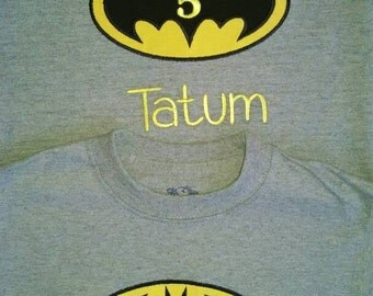 Ships quickly! Boys or girls Batman party shirt,add birthday number, custom, personalize, name