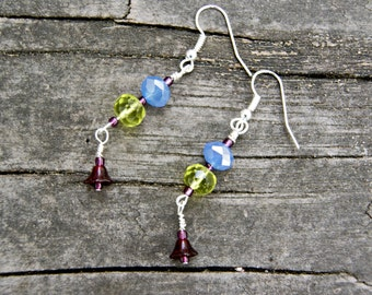 Purple Flower Vintage Glass and Crystal Earrings