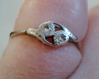 Ring - Vintage 1930's 9ct Gold and Diamond Set Cross Over Ring, Size L (UK) 6 (USA)